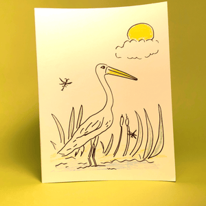 Egret Greeting Card (Original Art by Green Camel Press)
