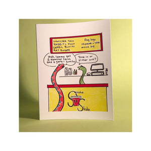 Slither Out --- Don't forget a mouse pie for dessert! Greeting Card (Original Art by Green Camel Press)