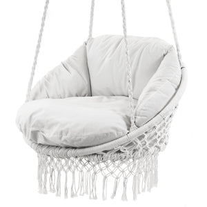Deluxe Polyester Macrame Chair With Fringe