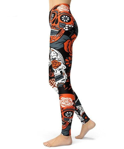Totenkopf Leggings orange