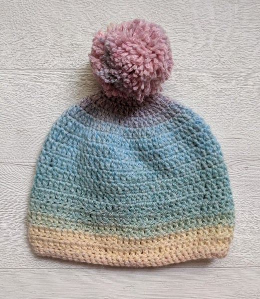 Hand Made Crochet Wool Baby Bobble Hat 0-3 Months