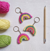 Mini Crochet Rainbow Keyrings