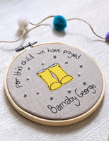 'For This Child We Have Prayed' Personalised Embroidery Hoop