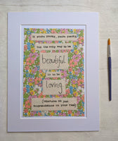 'Be Loving to be Beautiful' - Original Liberty Mixed Media Artwork