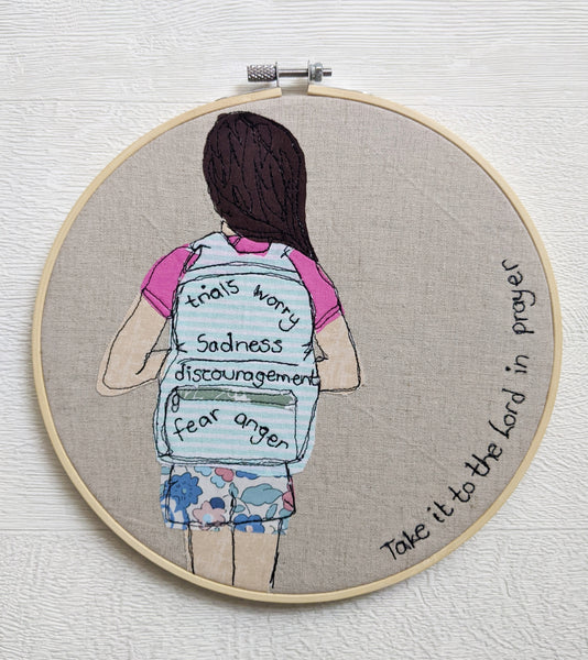 "Personalised 8"" embroidery hoop - 'Take it to the Lord in prayer'"