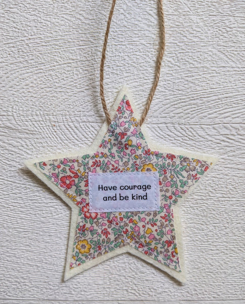 Ellen Hopkin Creates 'Have Courage and Be Kind' Liberty Fabric Star Gift