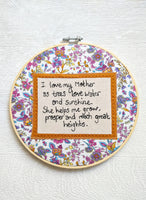 'I Love My Mother' 8 inch gift hoop