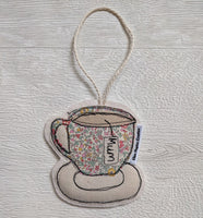 Ellen Hopkin Creates - Liberty Fabric Tea Cup 'Mum' Hanging Decoration