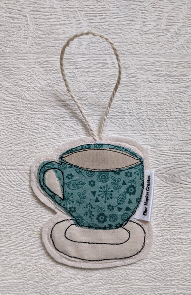 Ellen Hopkin Creates - Vintage Style Fabric Tea Cup Hanging Decoration