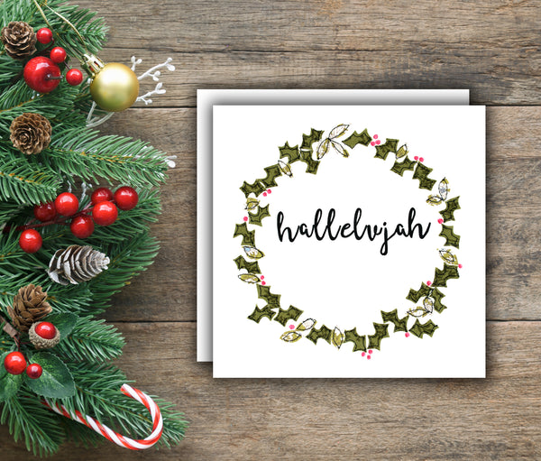 Faith In Fabric Wreath Christmas Cards, 'Hope, Joy and Hallelujah'  - pack of 6