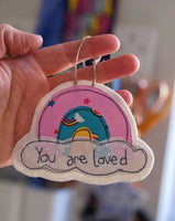 'You are loved' hanging rainbow decoration
