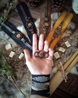 Lunar Calendar Leather Cuff Bracelet Set