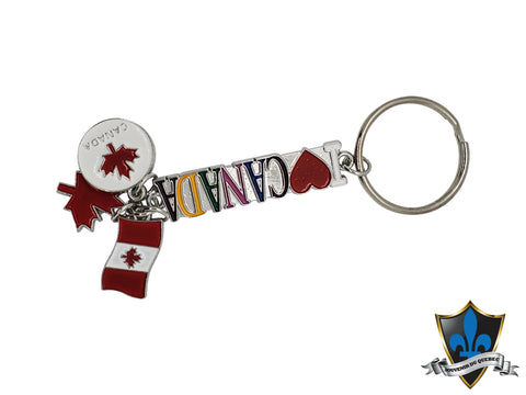 I love Canada  Key with Canadian maple leaf keychain.