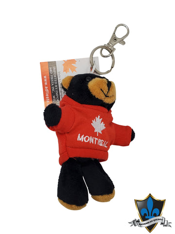 Black Bear keychain with Montreal jacket. - Souvenir Du Quebec