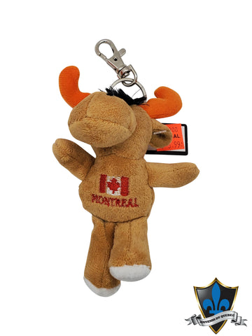 Moose  keychain with Montreal and Canada flag