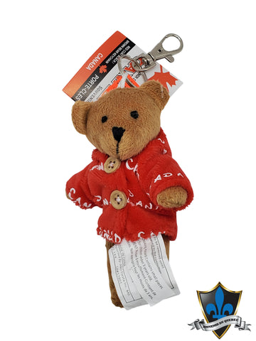 Bear keychain with Canada jacket. - Souvenir Du Quebec, Maple Syrup, Souvenirs, Montreal