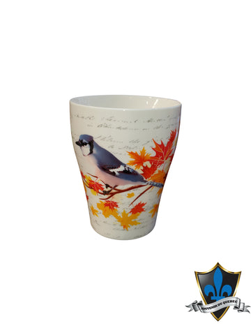 WHITE MAPLE LEAF MUG ORIGNAL BLUE JAY GIFT BOX - Souvenir Du Quebec