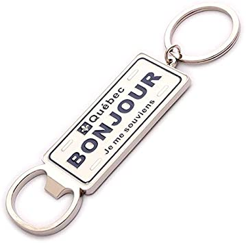 Bonjour heavy weight metal Keychain - Souvenir Du Quebec