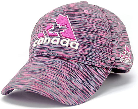 A pink cap with True North and Canada embroidered along the front. - Souvenir Du Quebec