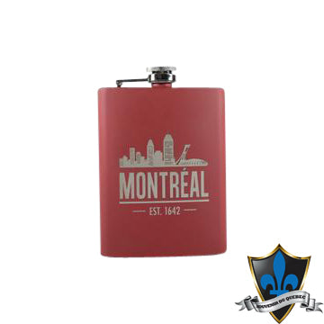 Stainless Steel RED  MONTREAL  Flask 8 oz. - Souvenir Du Quebec, Maple Syrup, Souvenirs, Montreal