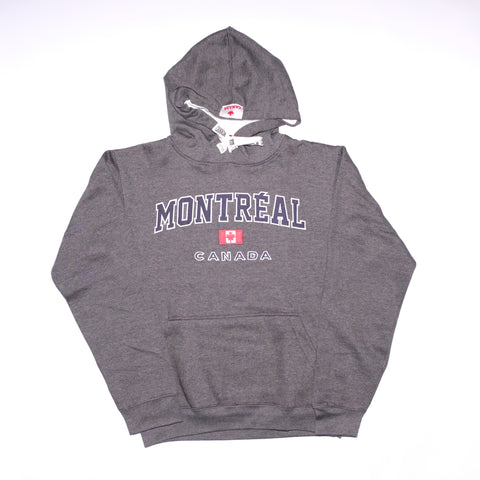 Charcoal Grey Montreal Script  Embroidered Hoodie - Souvenir Du Quebec