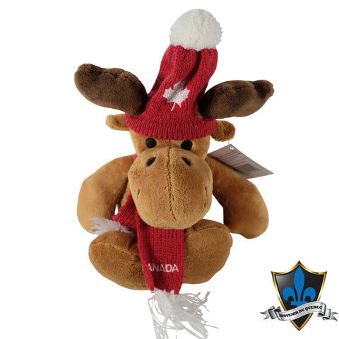 A brown moose with a Canada scarf and beanie with a Canadian maple leaf - Souvenir Du Quebec, Maple Syrup, Souvenirs, Montreal