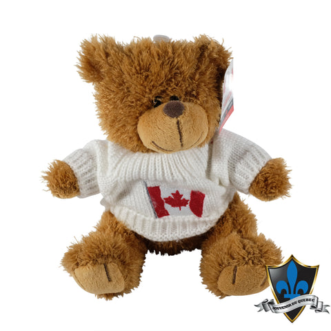 Canadian plush Bear With White Canada Flag Sweater. - Souvenir Du Quebec, Maple Syrup, Souvenirs, Montreal