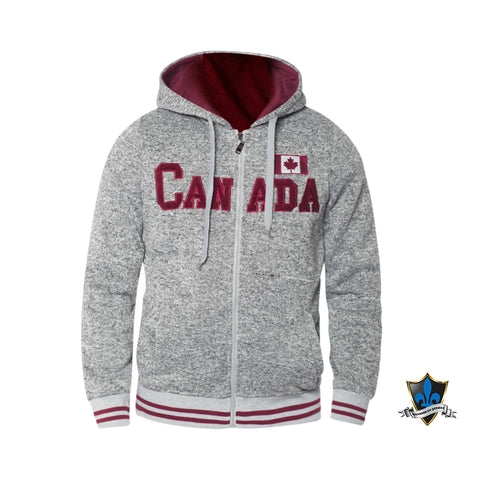 Canadian Grey And Burgundy Hoodie. - Souvenir Du Quebec