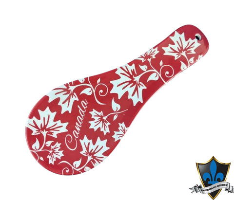 Canada Maple leaf white and red with Canada  Spoon Rest - Souvenir Du Quebec