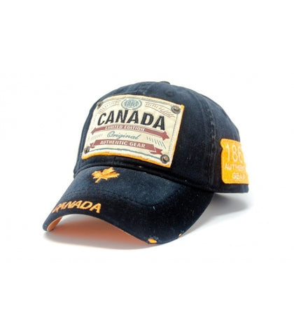 Canada Authentic Gear Patch Washed Embroidery Cap - Souvenir Du Quebec