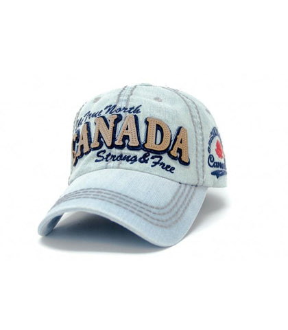 True North Strong And Free Sand-washed Cap - Souvenir Du Quebec