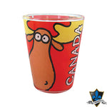 Red CANADIAN MOOSE SHOT GLASS - Souvenir Du Quebec