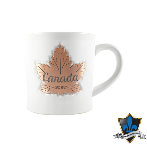 CERAMIC  white Copper Maple Leaf Mug - Souvenir Du Quebec