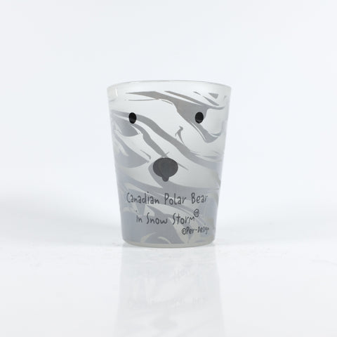 Marble Canadian Polar Bear in Snow Storm Shotglass