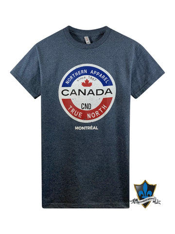 Adult Montreal Souvenir T shirt  True North . - Souvenir Du Quebec
