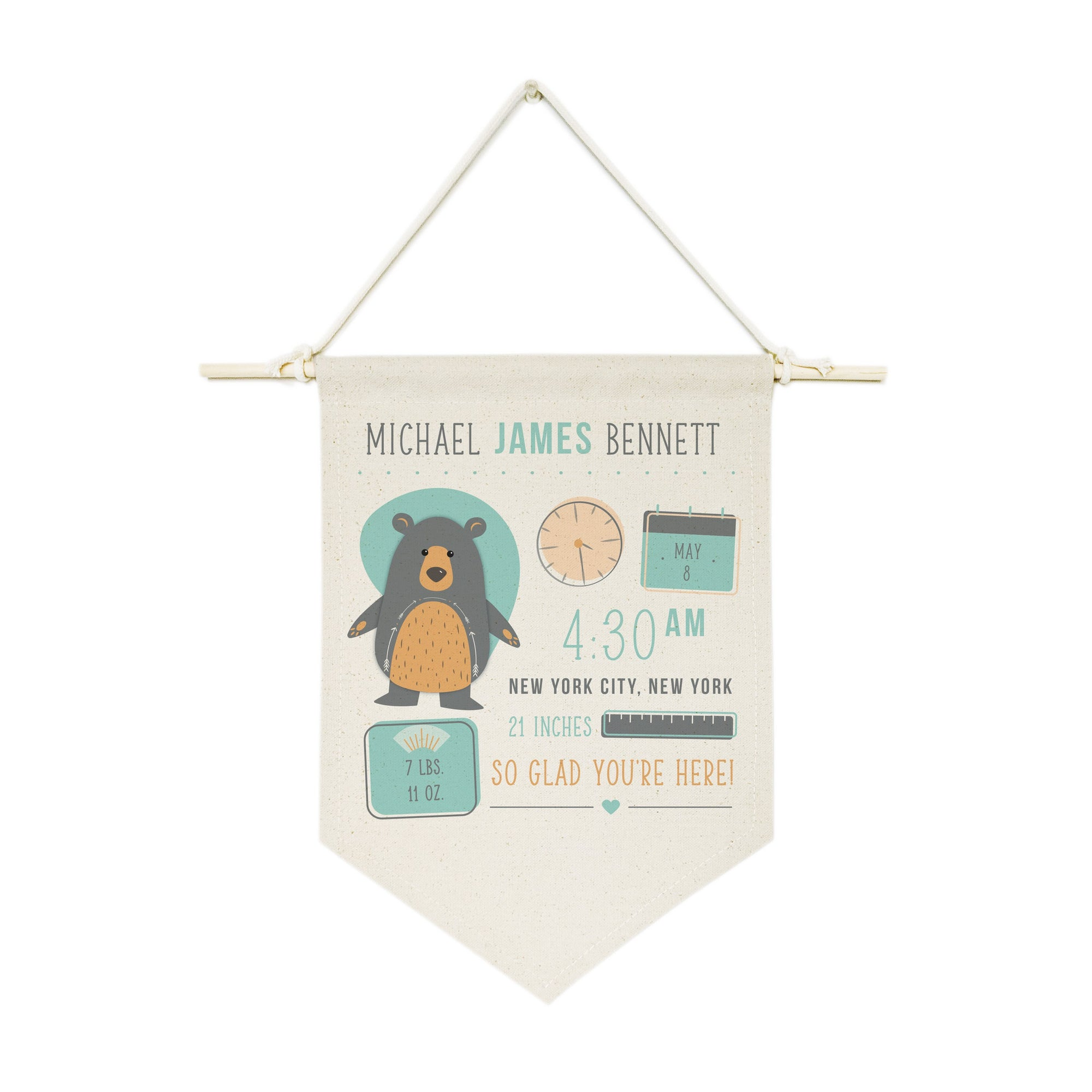 Personalized Bear Newborn Baby Announcement Hanging Wall Banner