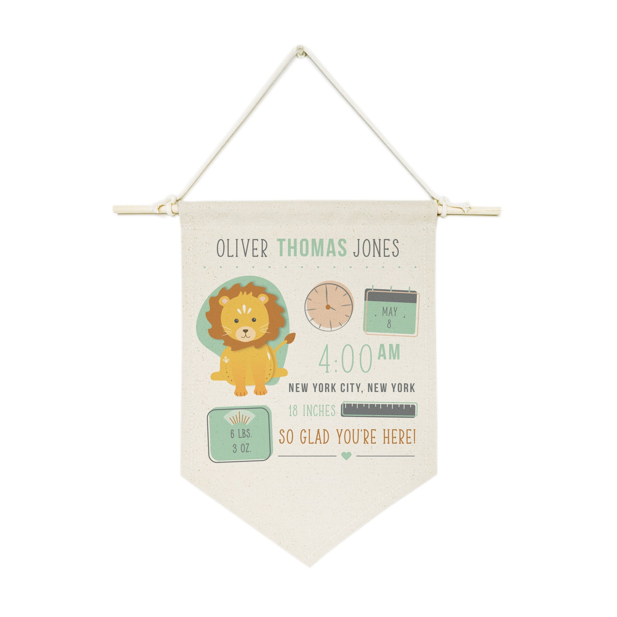 Personalized Lion Newborn Baby Announcement Hanging Wall Banner
