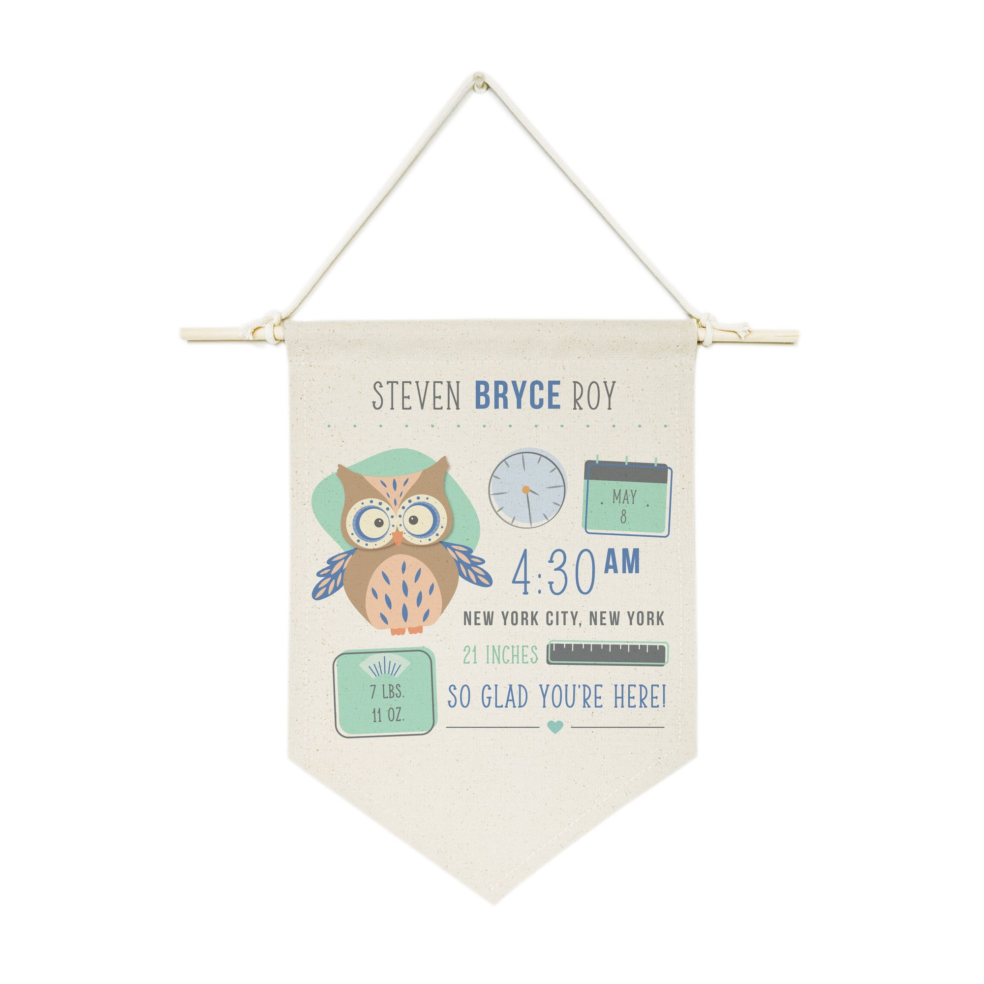 Personalized Owl Newborn Baby Announcement Hanging Wall Banner