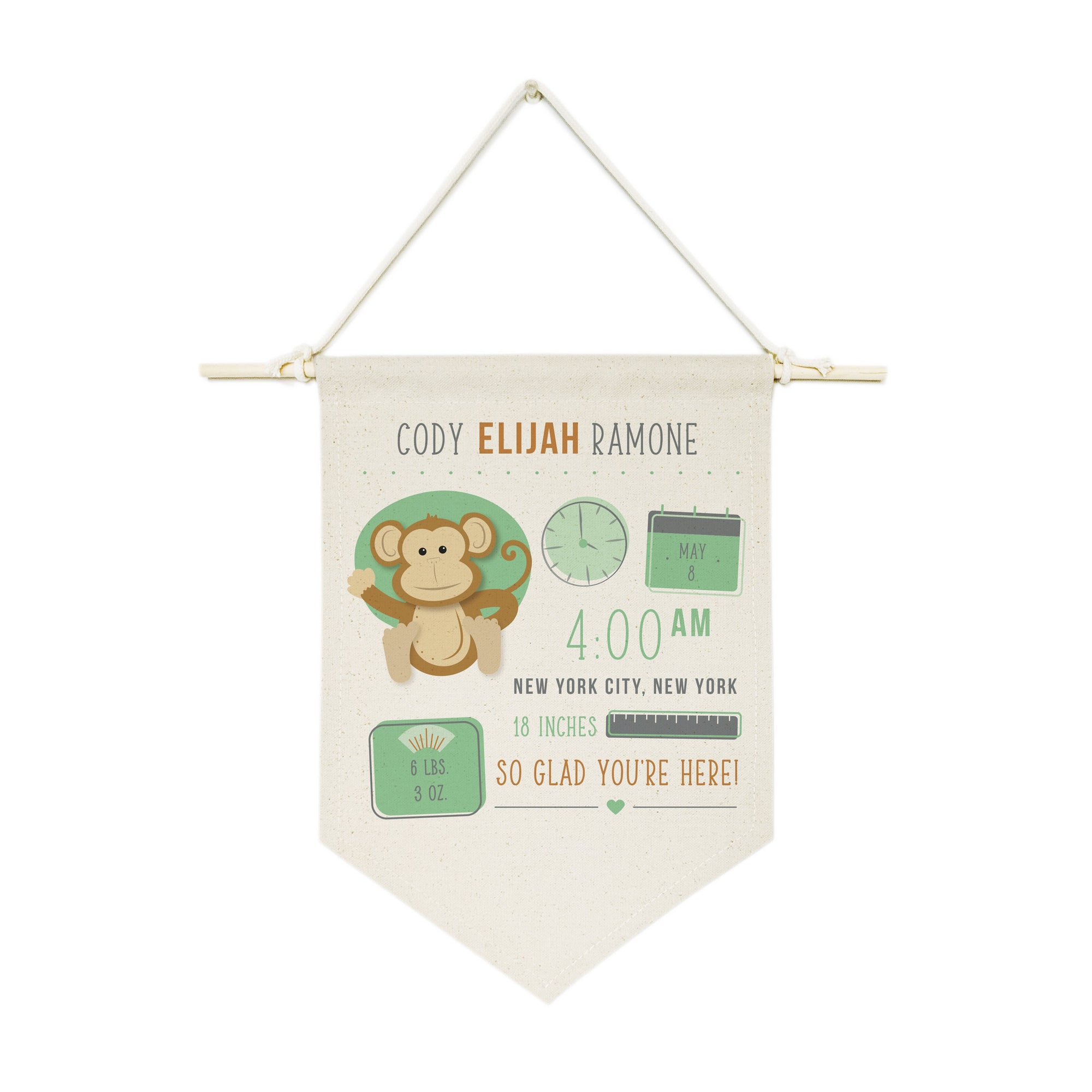 Personalized Monkey Newborn Baby Announcement Hanging Wall Banner