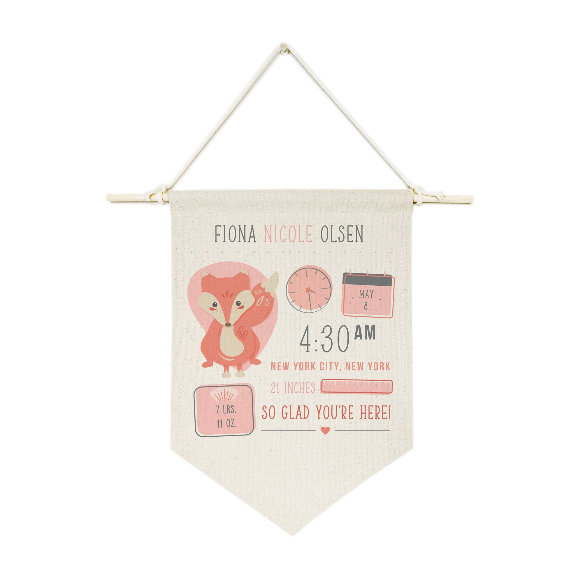 Personalized Fox Newborn Baby Announcement Hanging Wall Banner