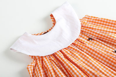 Orange Gingham Turkey Gobble Dress