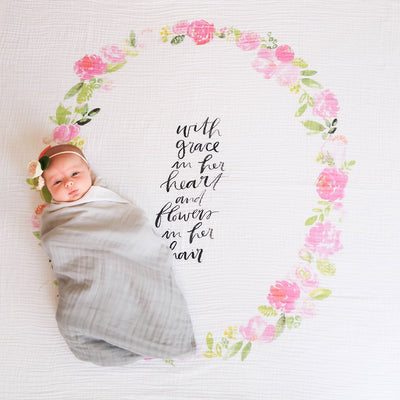 Peony Blooms - Organic Swaddle Blanket