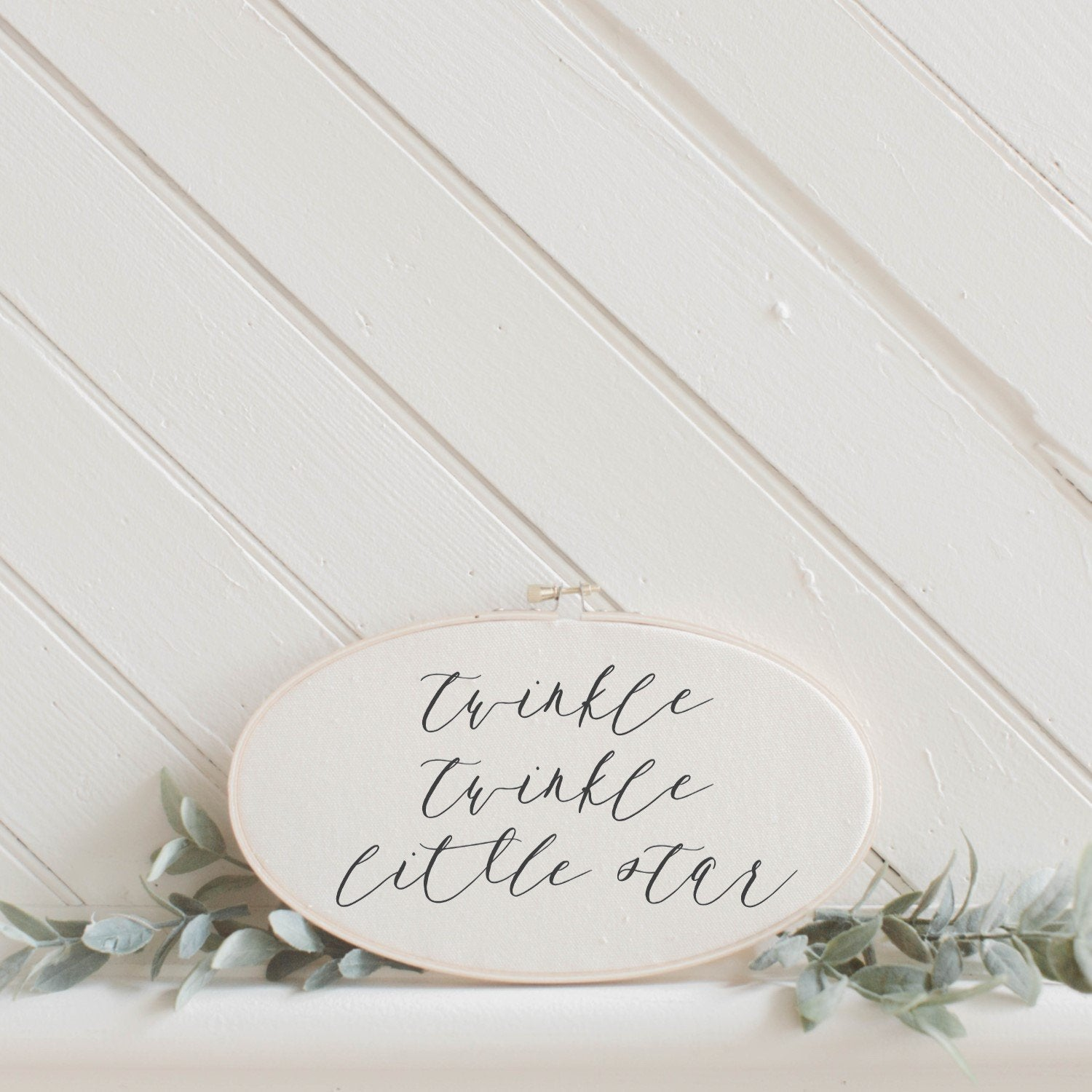 Twinkle Twinkle Little Star Faux Embroidery Hoop