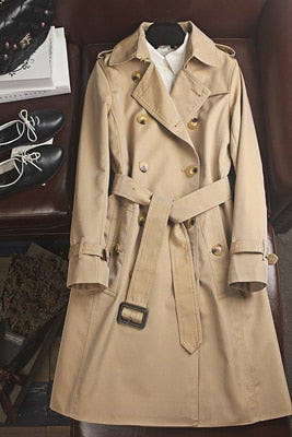 Obrix 2 Version Fashionable Twill Female Trench Cotton Long Spring Autumn Coat  For Women