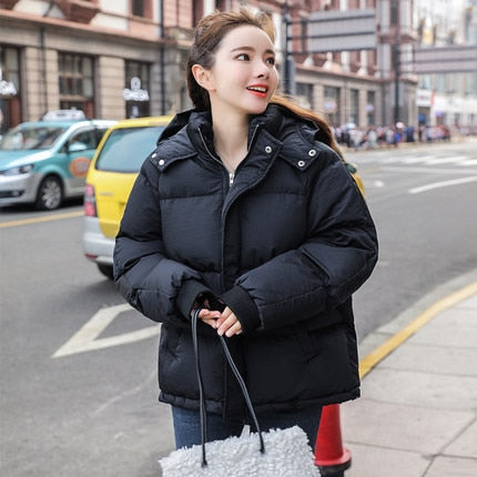 2020 New Autumn Winter Jacket Hooded Women Coat Loose  Cotton-padded Short Jackets Female Parka Warm Casual Plus Size Overcoat
