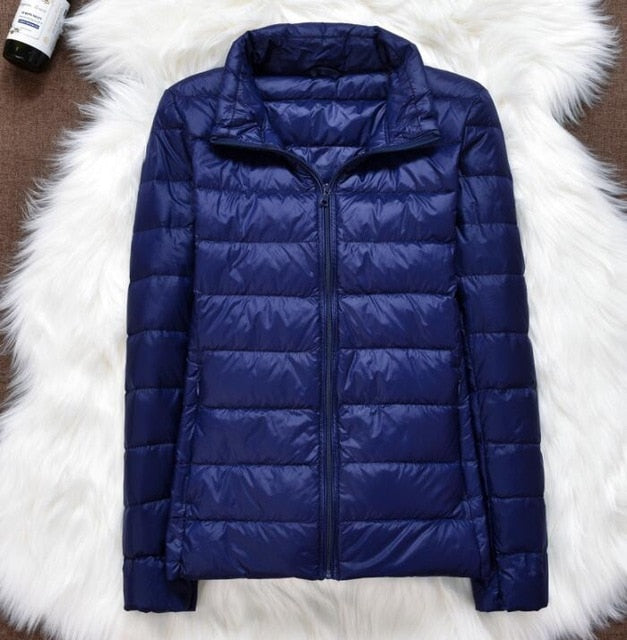 Spring Plus Size 4XL Women Down Jacket Winter Ultra Light 90% White Duck Down Coat Short Hooded Puffer Jacket Female Warm Parka