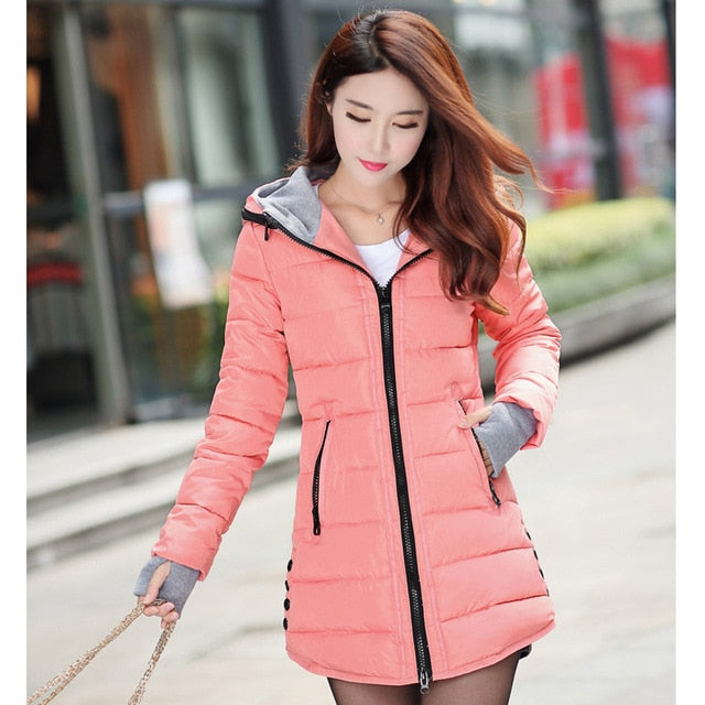 2019 women winter hooded warm coat plus size candy color cotton padded jacket female long parka womens wadded jaqueta feminina