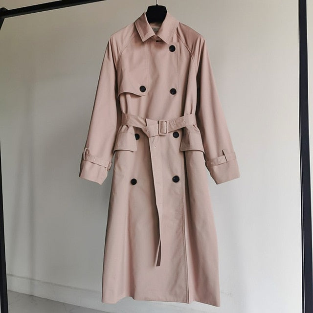 UK Brand new Fashion 2020 Fall /Autumn Casual Double breasted Simple Classic Long Trench coat with belt Chic Female windbreaker
