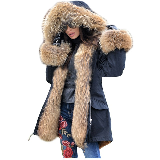 LaVelache 2020 Long Parka Real Fur Coat Winter Jacket Women Natural Real Fox Fur Coats Outerwear Streetwear Casual Oversize New