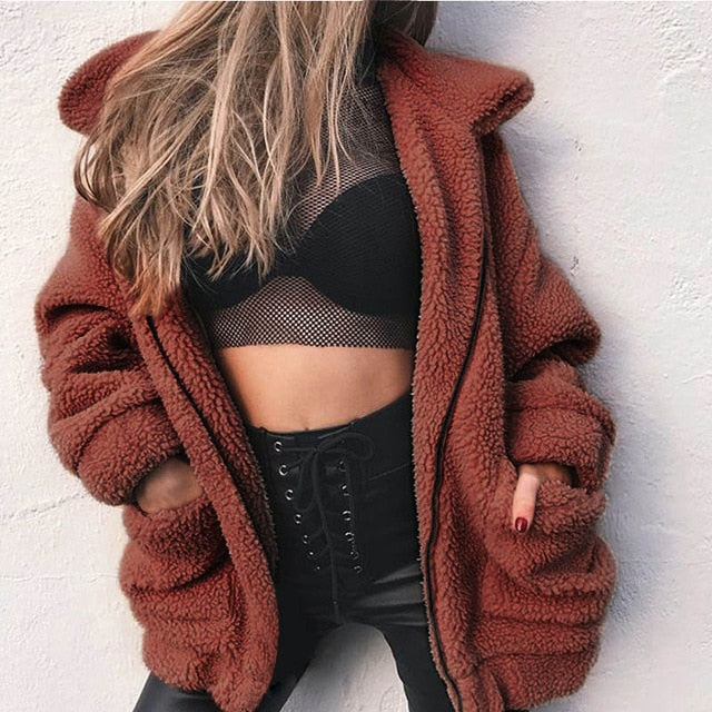Autumn winter jacket female coat 2020 new fashion korean zip plus size teddy fur women coat female casual jackets woman pusheen